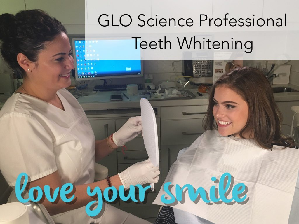"""Dental professional holding a mirror for a patient. Text on photo reads """"GLO Science Professional Teeth Whitening. Love your smile"""""""