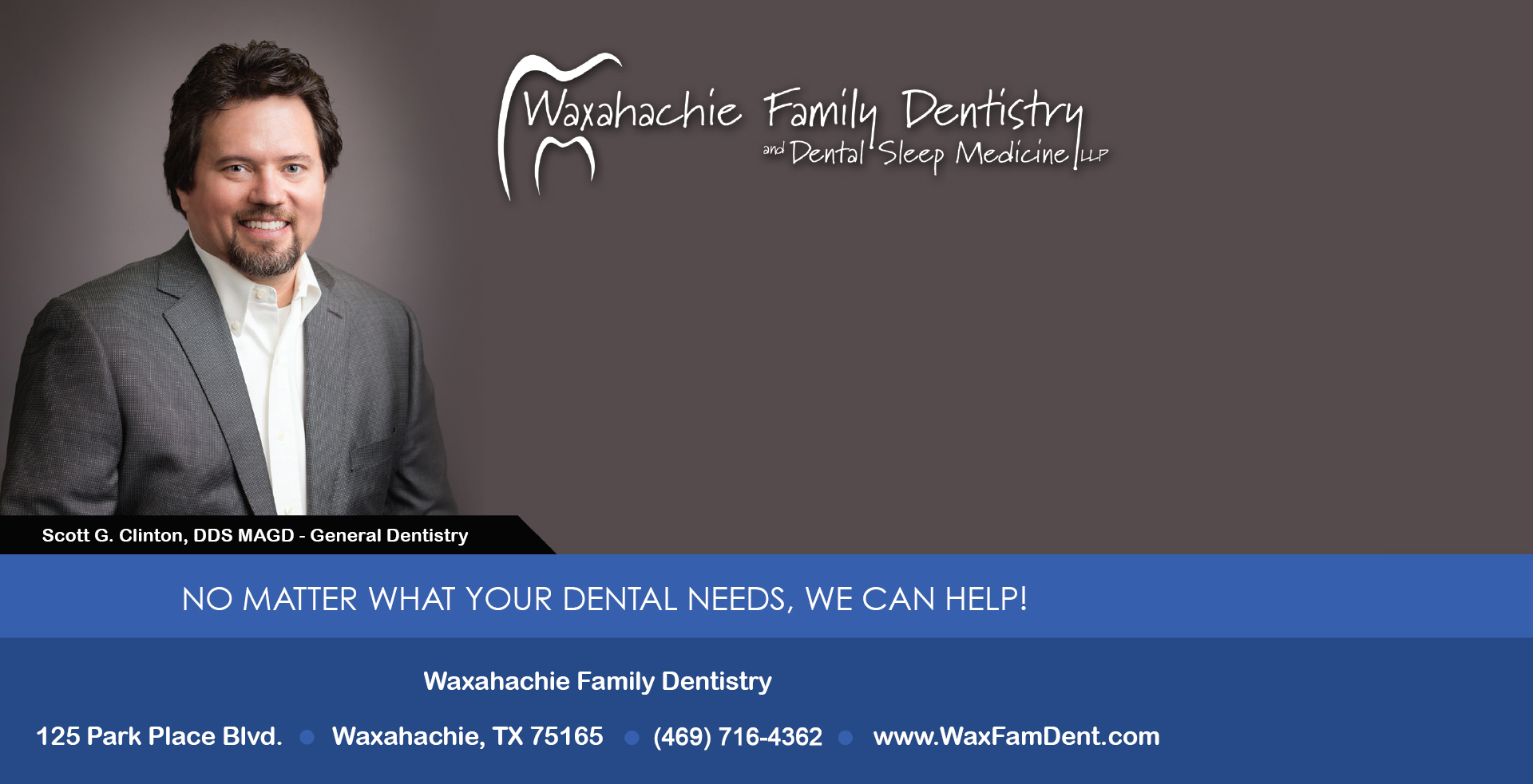 ad for dental sleep medicine at Waxahachie Family Dentistry with photo of Dr. Scott Clinton